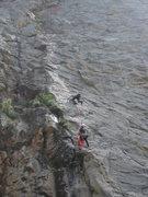 "Rock Climbing Photo: Rob, Firing pitch 2 of ""Transformation""."