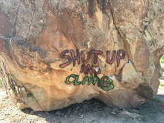 Rock Climbing Photo: Someone has seen fit to tag the Diamond Boulder. H...