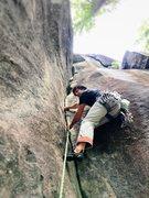 Rock Climbing Photo: Seth leading the initial layback corner of PBR