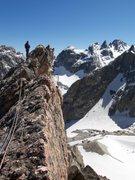 Rock Climbing Photo: Steve Scott on summit ridge of Fairshare Tower