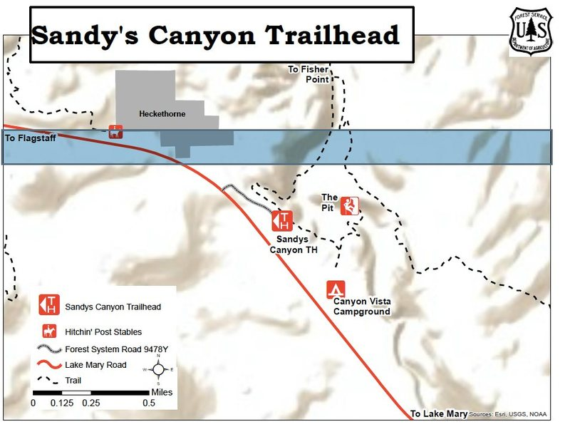 USFS Map of new Sandys Canyon T.H.