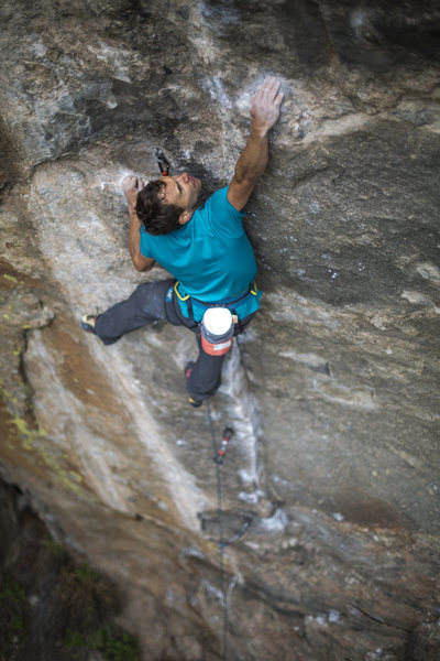 Just after the crux on this brilliant route!<br> <br> Cameron Maier photo!