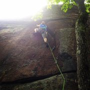 Rock Climbing Photo: Torie leading up the initial corner.