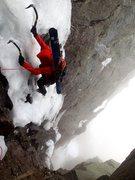 Rock Climbing Photo: Late season ice in Pinnacle Gully on Mt. Washingto...