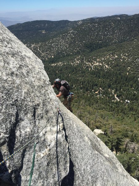 Rock Climbing Photo: Andrew on pitch 2. we went left on the roof instea...