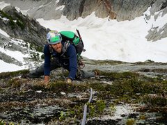 Rock Climbing Photo: Sam at the moss carpet at the end of the route. Th...