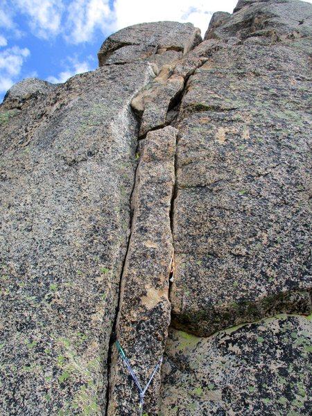 Rock Climbing Photo: Crux 5.8+ Pitch 4 of Paisano Pinnacle. I thought t...