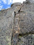 Rock Climbing Photo: Crux 5.8+ Pitch 4 of Paisano Pinnacle. I thought t...