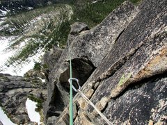 Rock Climbing Photo: Looking down while leading Pitch 6 of Paisano. It&...