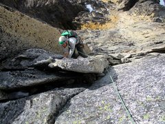 Rock Climbing Photo: Sam climbing Pitch 4 of the North Face of Burgundy...