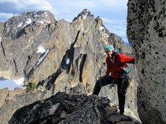 Rock Climbing Photo: Sam on the summit of Burgundy Spire, with Chianti ...