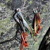 You can rappel the route with a single 70m rope. This bolted rap station is useful for the second rappel.