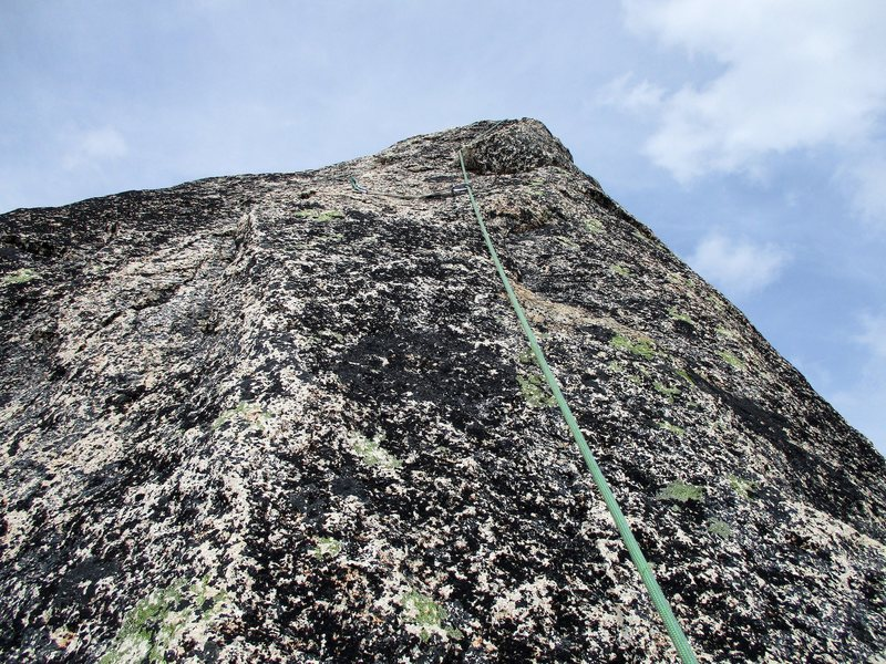The final section of climbing to the top of Paisano Pinnacle. This part features 5.8 face climbing with poor pro.