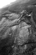 Rock Climbing Photo: Torie makes the committing step in to the business...