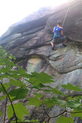Rock Climbing Photo: Hold on and use every trick you have as the flake ...