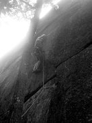 Rock Climbing Photo: torie getting to the top of the initial corner.
