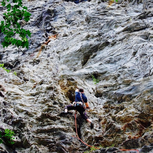 Rock Climbing Photo: Plenty of good holds, slightly overhanging. Lots o...