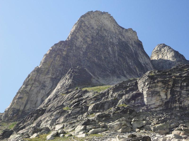 south ridge in profile on descent