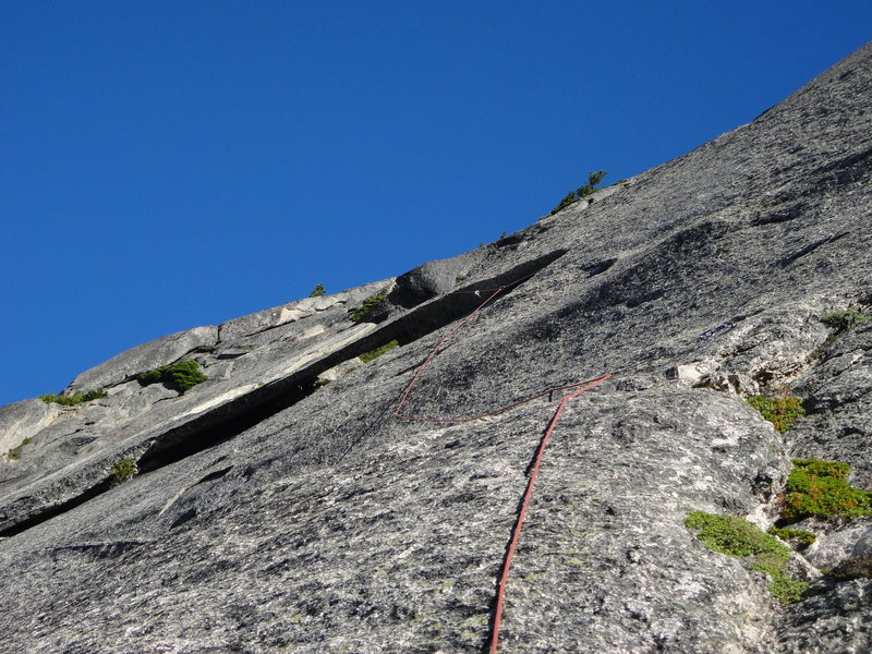 looking up at pitch 7 and the big flake