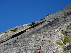 Rock Climbing Photo: looking up at pitch 7 and the big flake