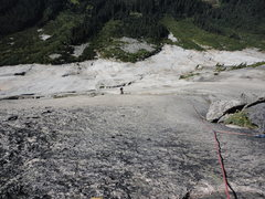 Rock Climbing Photo: looking down from top of pitch 9
