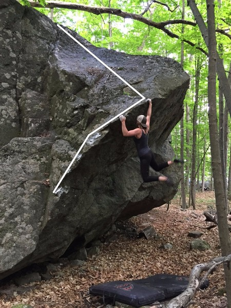 Rock Climbing Photo: Anika Ramey with her right hand on the finish jug