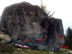 Rock Climbing Photo: Detail of some of the problems I did and the poten...