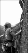 Rock Climbing Photo: Following before the retro bolts were placed.