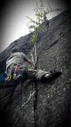 Rock Climbing Photo: Leading the route prior to retro bolts.