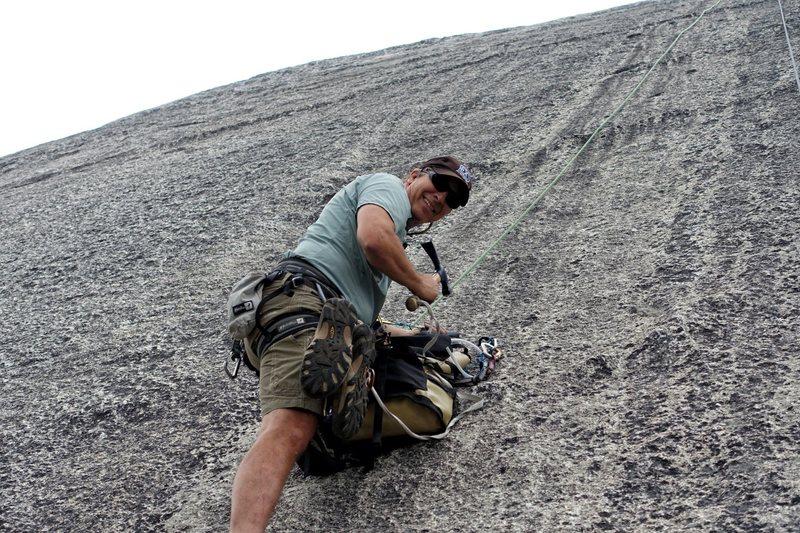 Rock Climbing Photo: FA Ron Vardanega rebolting his old route.