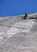 Rock Climbing Photo: Belyn Grant on second ascent of Ice House Roof (Pi...