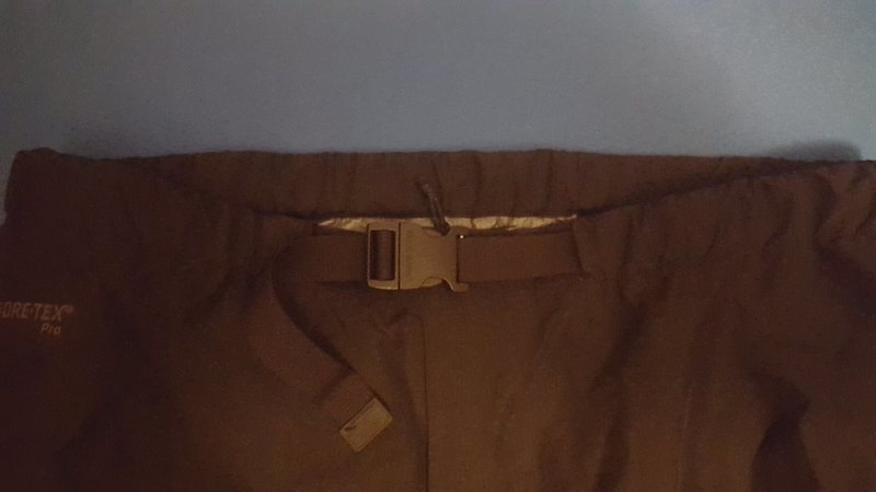 Close up of the replacement buckle on the Beta AR pants