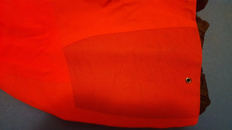 Close up view of some of the scuffing on the reinforced section of one of the legs of the Theta SV Bibs.