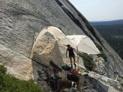 Rock Climbing Photo: Shade for the dogs as FA team Ney and Betsy Grant ...