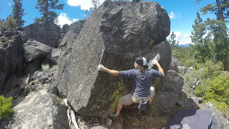 fun traverse move going left to arete then up