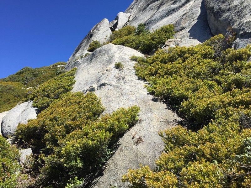 Ramp and notch to start of climb