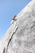 Rock Climbing Photo: Belyn Grant trundling large loose block off of Sep...