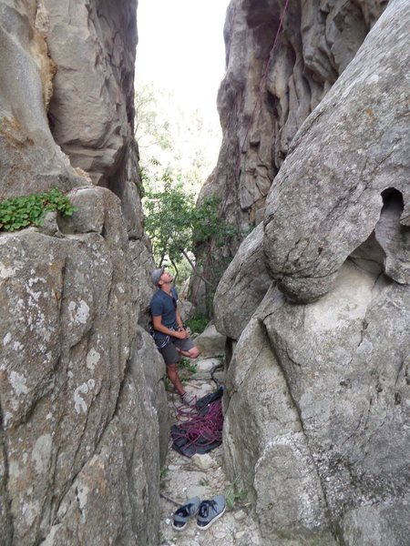 Bro Aaron about to belay me on Middle Route inside the Hummingbird Corridor