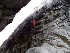 Rock Climbing Photo: Mid route with hands on the distinct undercling st...