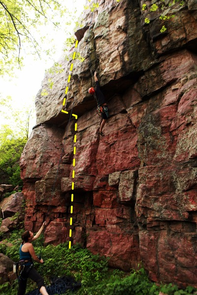 line shows burn gage, climber is on <br> Shoshin.