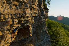 Rock Climbing Photo: Carbs and Caffeine onsight attempt on a crisp and ...