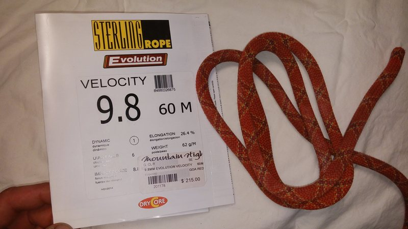 Sterling Velocity 9.8mm , 60m rope