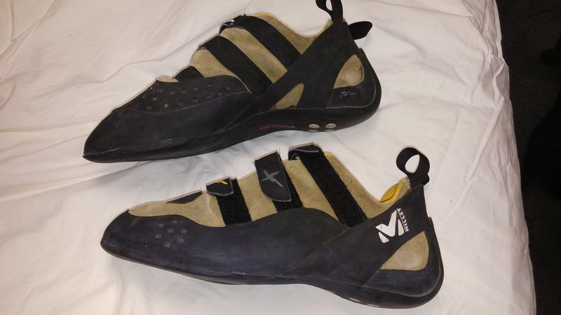 Millet Hybrid climbing shoes, size 12, color sulphur... they&@POUND@39@SEMICOLON@re yellow and black. Really great sure, I just started using my Miuras for everything