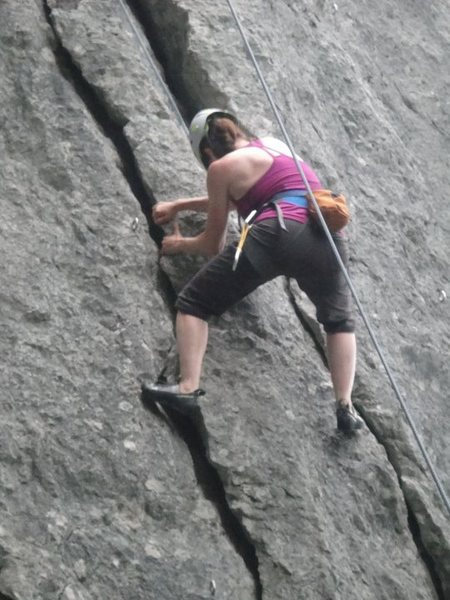A newbie to climbing in 2011, trying to figure out how to climb a crack.