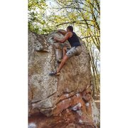 Rock Climbing Photo: Mario topping out on Manute Bol - V6 classic bould...