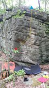 Rock Climbing Photo: Red star to blue triangle.