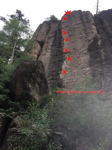 Rock Climbing Photo: Looking up at When the Wives are away. Cantilevere...