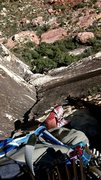 Rock Climbing Photo: hanging out watching netflix at the second belay.