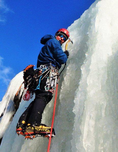 Ascending the start of the vertical pillar.