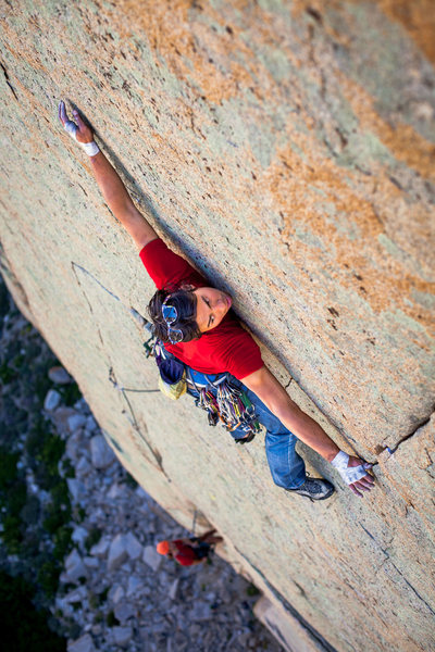 Rock Climbing Photo: Dennis Lim on the crux pitch of Another Summer (5....